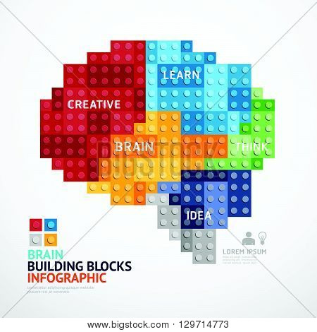 Infographic Template with heart shape building blocks banner . concept vector illustration.