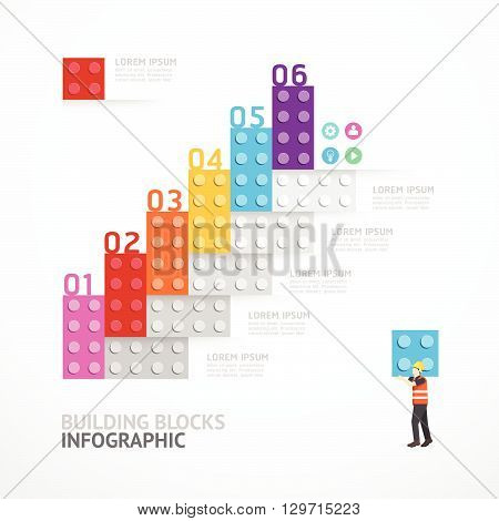 Infographic Template step building blocks banner . concept vector illustration.