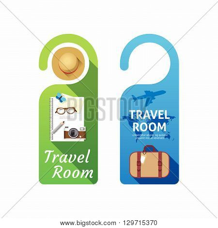 Paper door handle lock hangers concept travel room banner vector set.