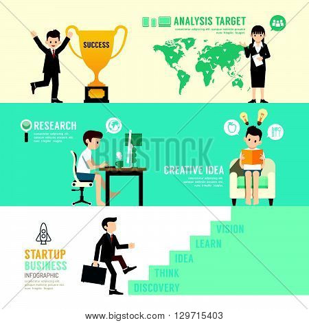 Startup Business design concept people set presentation with flat icons. vector illustration
