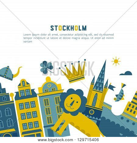 Vector set of characters with elements of Swedish design. Town Hall. A lion. Horse Dali. Vikings. It could be used for greeting cards invitations posters flyers and other printed materials.