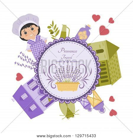 Vector set of elements Provence. Lavender house lantern cicada. Objects are arranged in circle.