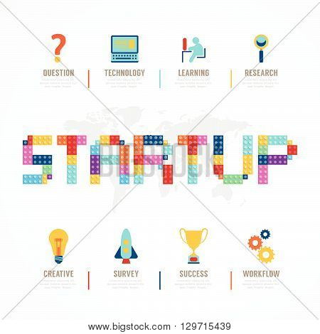 Startup Business design concept block alphabet idea. with flat icons. vector illustration