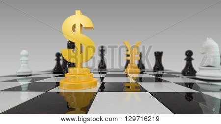 3d illustration of dollar versus renminbi currency war on checkerboard