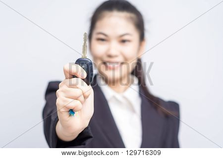 Happy Asian Busines Woman Hand Holding New Key