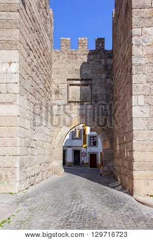 Close up of the Town Gate (Porta da Vila) of Nisa. Nisa, Portugal
