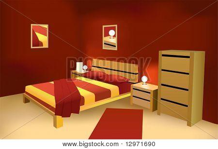 vector de dormitorio moderno rojo