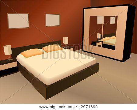brown bedroom vector