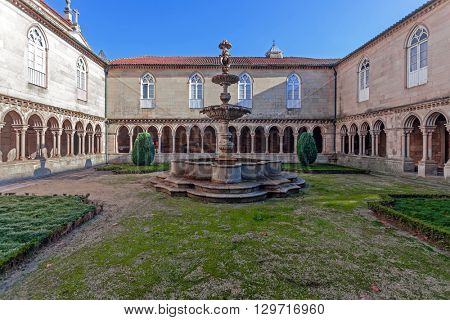 Fountain in the cloister of the S. Bento monastery, Santo Tirso, Portugal. Benedictine order. Built in the Gothic (cloister) and Baroque (church) style.