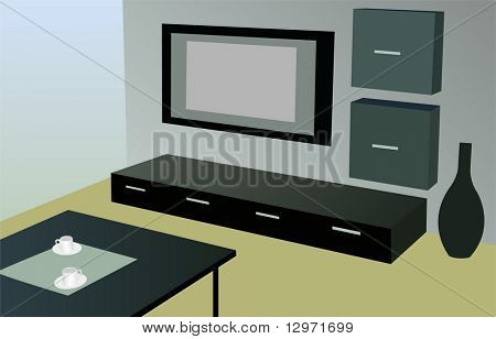 modern room with tv vector