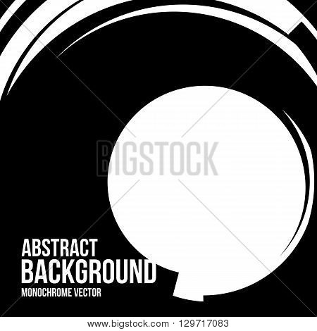 Vector abstract circle shape. Hand drawn sketch lines. Black round shape. Monochrome frame. Isolated stroke design. Twist outline curves illustration.