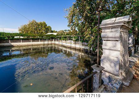 The Tide Lake (Lago de Mare) in Fidalga Palace and Gardens (Quinta da Fidalga). Seixal, Setubal, Portugal.