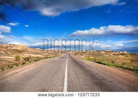 Endless Road In The Desert