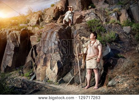 Caveman And Woman In Animal Skin