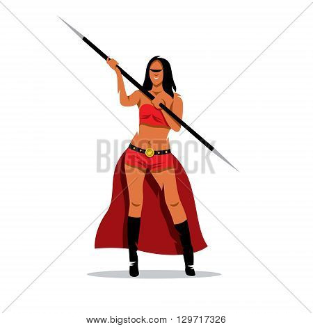 A woman with a spear in a red dress isolated on a white background