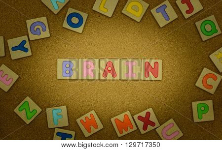 Brain word on wood background : ABC block.
