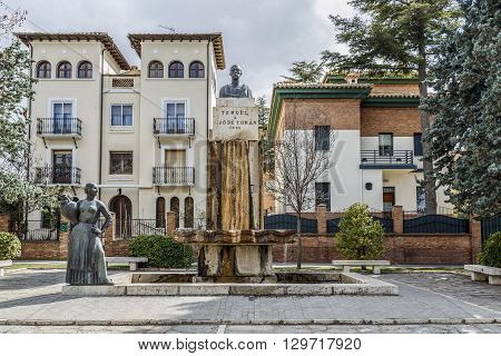 Teruel Spain - March 11 2016: Statue tribute to the city of Teruel Spain his son Jose Toran. The sculptor Victorio Macho.