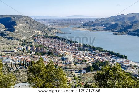 Overview of Mequinenza. Aragon Spain in river ebro