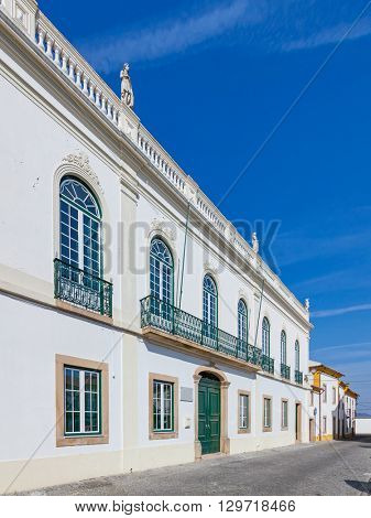 The Casa Lopes Tavares located in the town square, the headquarters of the Misericordia de Nisa. Nisa,Portugal.