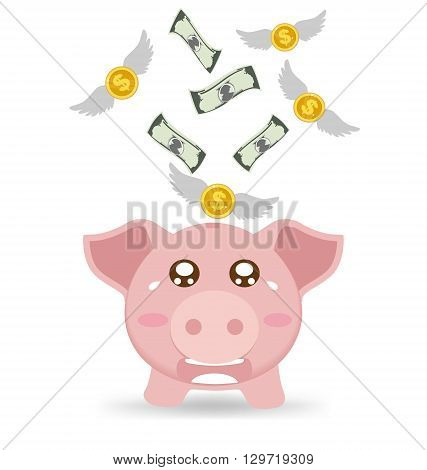 Piggy Bank Cry When See Money Flying Away