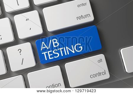AB Testing Concept: Metallic Keyboard with AB Testing, Selected Focus on Blue Enter Key. Metallic Keyboard with the words AB Testing on Blue Button. 3D Render.