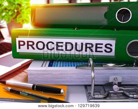 Green Ring Binder with Inscription Procedures on Background of Working Table with Office Supplies and Laptop. Procedures Business Concept on Blurred Background. 3D Render.