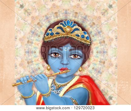 Illustration of hindu deity Shri Krishna playing the flute. Happy Janmashtami.
