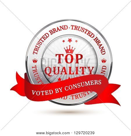 Trusted Brand. Top Quality, Voted by consumers - shiny metallic red icon / label / badge.