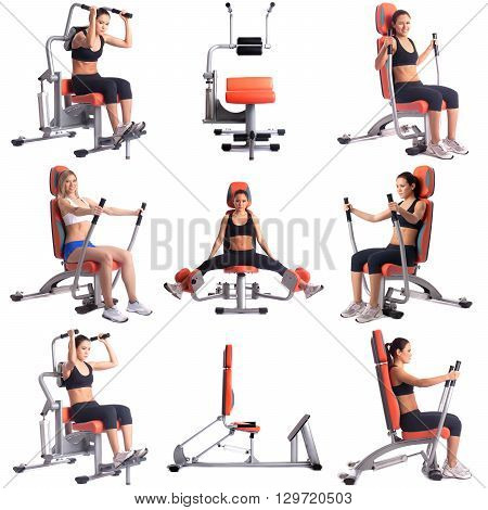 Sport. Collection of pretty women training on simulators
