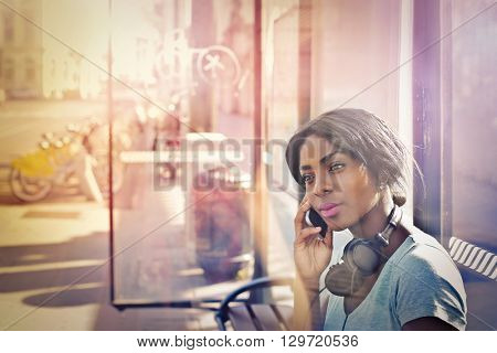 Girl at the bus station