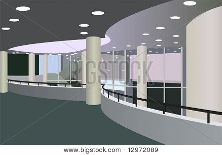 balcony in the foyer of the concert hall vector