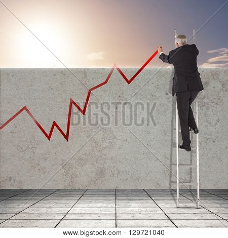 Businessman looking on a ladder against picture of city by sunrise