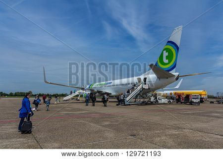 Rotterdam the Netherlands - May 02 2016: Rotterdam Airport passenger aircraft waiting to be boarded