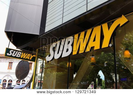 Bucharest, Romania, May 4, 2016: Subway logo. Subway is an American fast food restaurant franchise that primarily sells submarine sandwiches (subs) and salads.