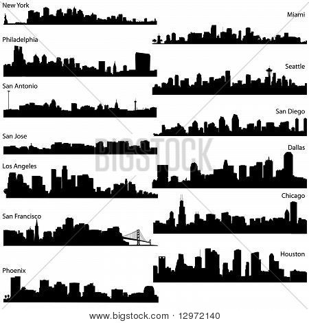 vector silhouettes of USA cities
