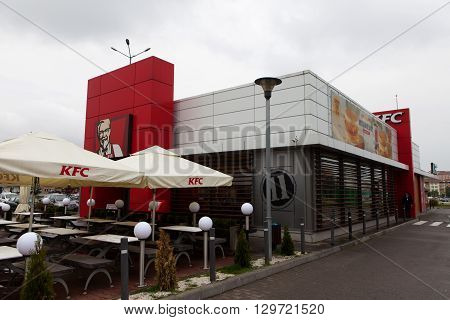Bucharest, Romania, May 4, 2016: KFC sign, Kentucky Fried Chicken (KFC) is a fast food restaurant chain that specializes in fried chicken, It is the world's second largest restaurant chain.