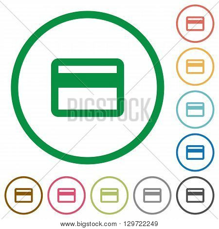 Set of credit card color round outlined flat icons on white background