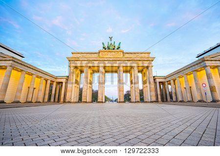 Nice Sky With Brandenburg Gate In Berlin Germany At Night