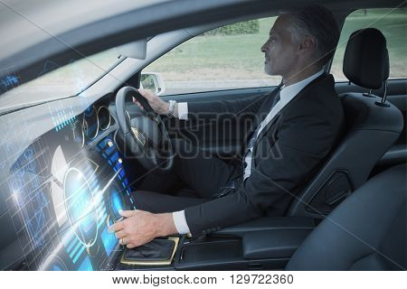 Technology car interface against handsome businessman in the drivers seat