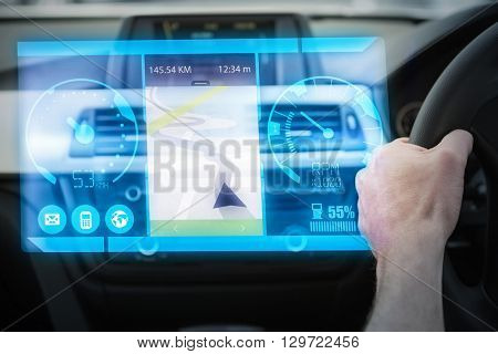 Image of a map against close up of man using satellite navigation system