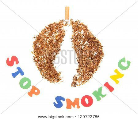 Inscription Stop smoking and tobacco isolated on white