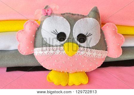 Cute felt owl toy. Children's soft toy