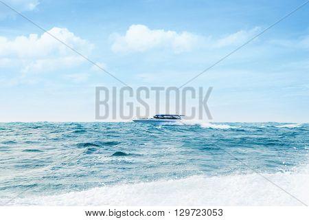 Big and luxury motorboat in the sea. Speedboat vessel.