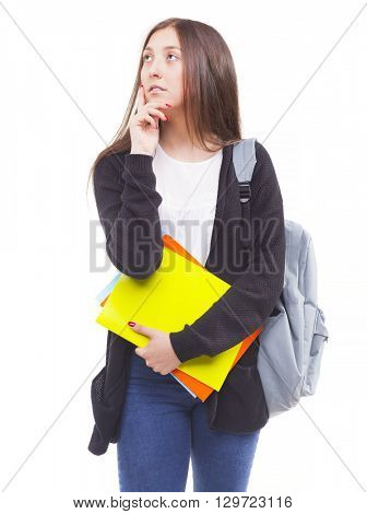 Young student girl with pondering gesture, isolated on white background