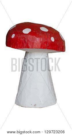Wooden mushroom, good luck symbol, isolated on white