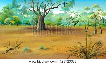 Large Solitary Tree in the Meadow. Digital painting