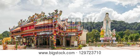 NAKHON SI THAMMARAT THAILAND - DECEMBER 7: Landscape of Guan Yin statue at temple on December 7 2015 in Nakhon Si Thammarat Thailand.