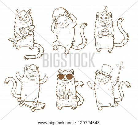 Cartoon cats set. Funny kittens in various poses. Vector image. Children's illustration. Contour image. Transparent background.
