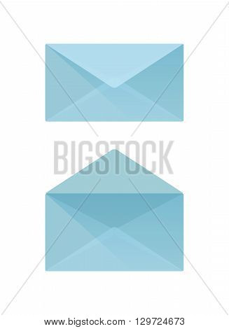 Blue envelope vector both open and closed
