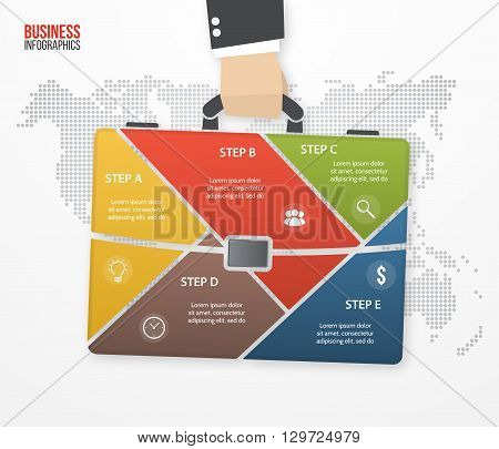 Vector infographic template with businessman holding bag briefcase. Business and travel concept with 5 processes options parts steps for graphs charts diagrams presentation website layout.